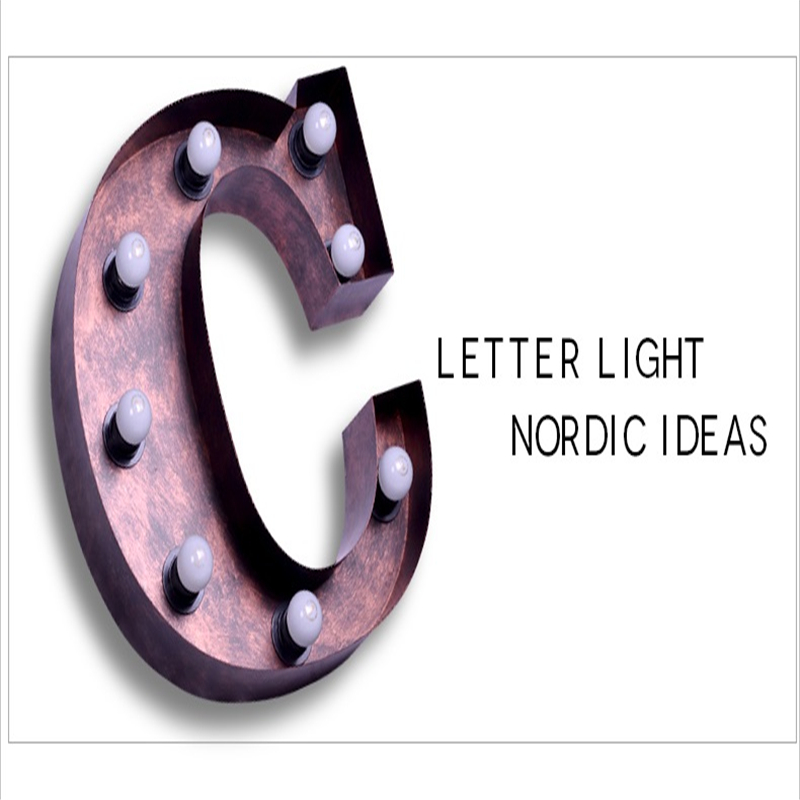 SGROW Metal Letter C Wall Lamp Light for Bedroom Living Room Art Lampara Industrial Creative Lights Logo C Iron Billboard Lamps