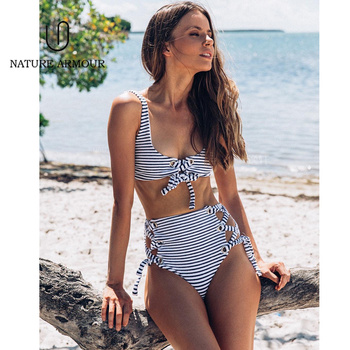 High Waist Bandage Bikini Set Striped Split Swimwear 2 Piece Swimsuit Women Bikini 2019 Bathing Suit Push Up Beach Swim Suit