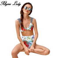 Rhyme Lady Swimwear Women High Waist Bikini Push Up Two Piece Swimsuit 2018 Brazilian Bikini Set