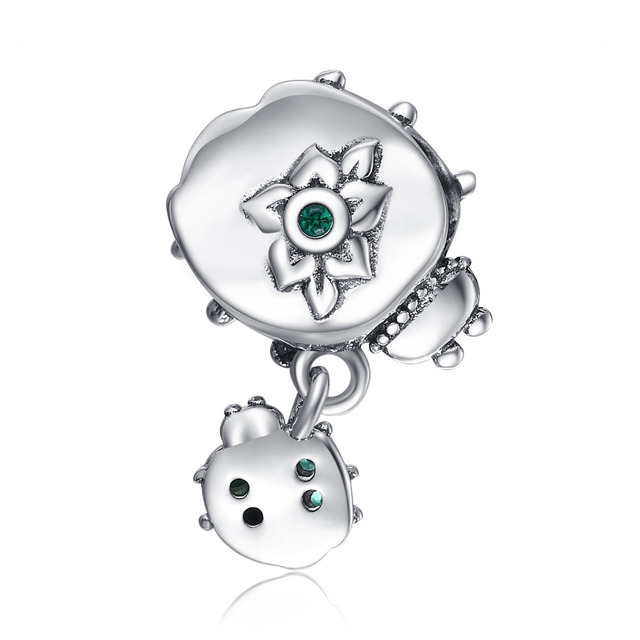 JewelryPalace 925 Sterling Silver Green Cubic Zirconia Mother And Child Ladybird Charm Beads Fit Bracelets For Your Best Friend