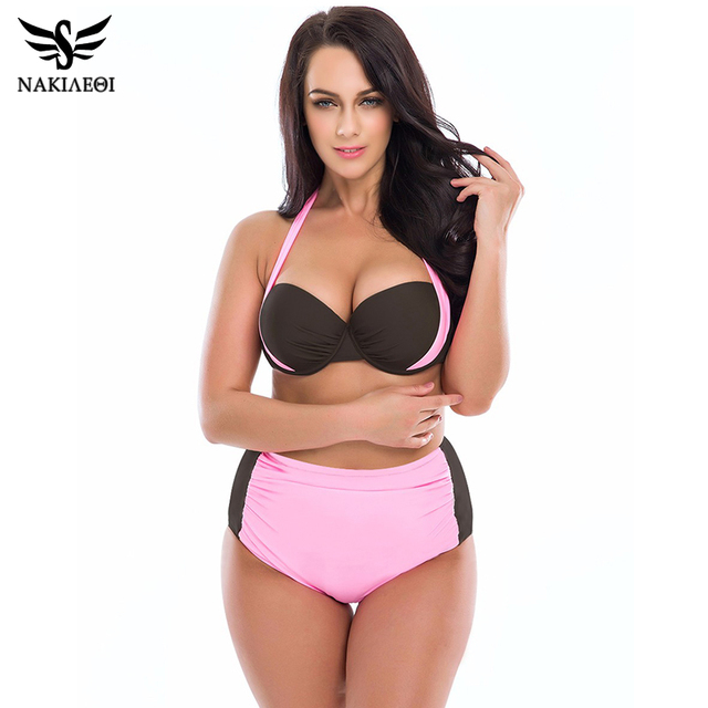 aa7dabf0d69 NAKIAEOI 2019 Bikini Plus Size Swimwear Women Swimsuit High Waist Bathing  Suit Push Up Bikini Set Halter Top Beach Swim Wear 4XL