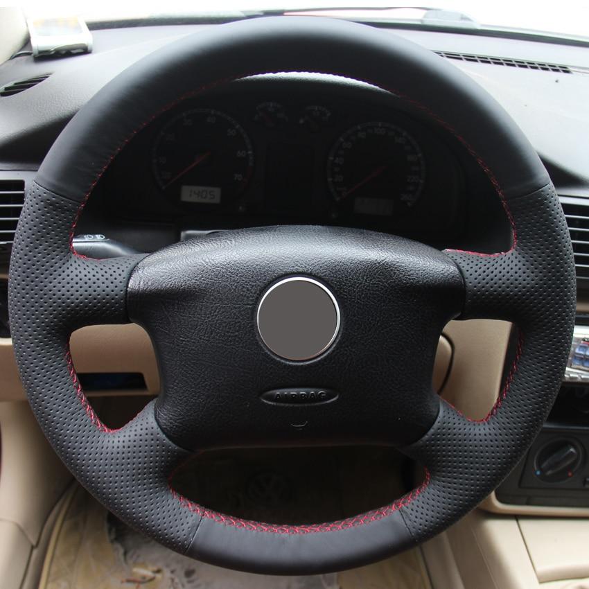 black leather hand stitched car steering wheel cover  volkswagen passat  vw passat  vw