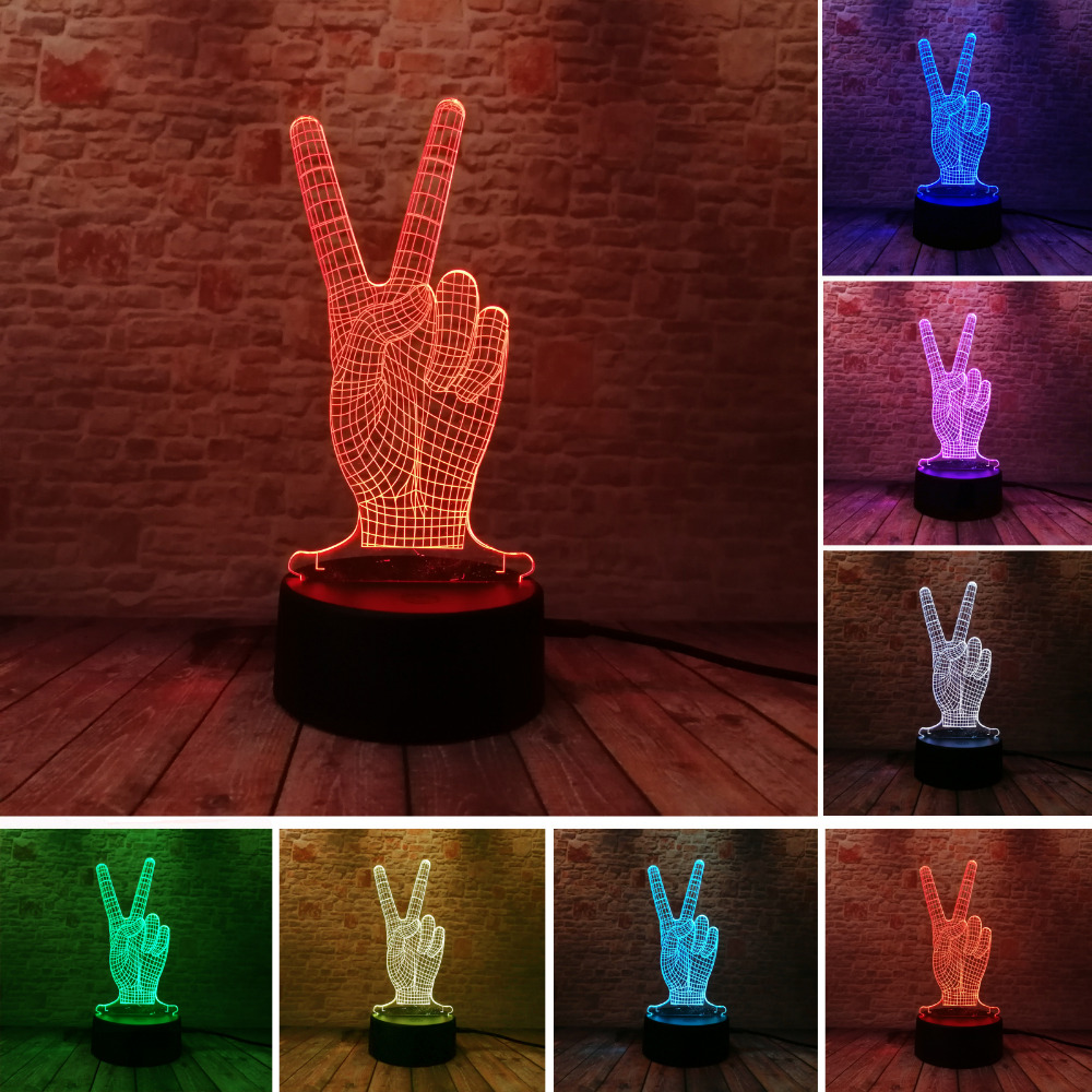 Novelty Hot Glowing The Victory 3D YES Gesture 7 Color Gradient LED - Night Lights - Photo 1