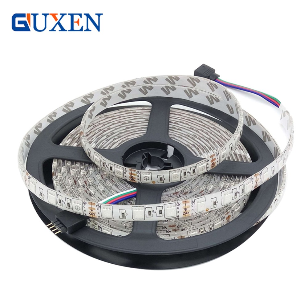 GUXEN Flexible DC12V 5050 LED Strip Waterproof 60led/m IP20/IP65 RGB/White/Warm White/Blue/Green/Red Tape for decoration