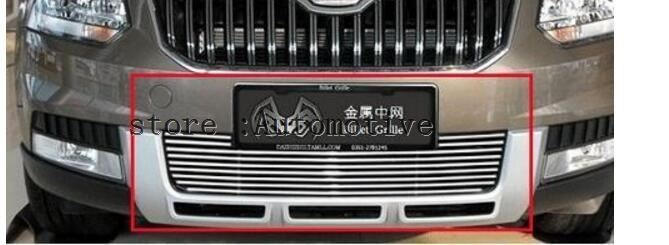 TOP Quality Stainless steel Car front bumper Mesh Grille Around Trim Racing Grills Fit For Skoda Yeti 2014 2015 bumper mesh front bumper trim grill trim -