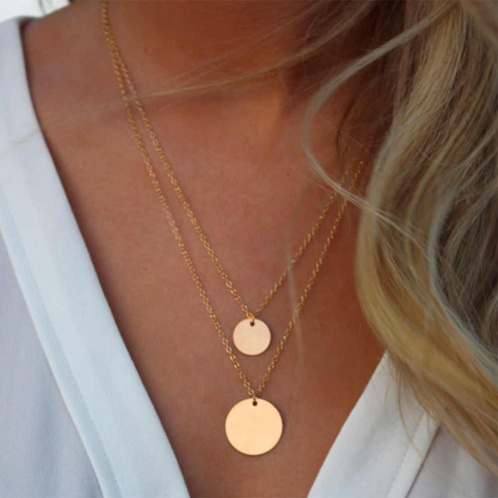 KISSWIFE Double Layer Gold Sequins Double Chain Necklace, Disco Layers, Boho Necklace, Beach Jewelry