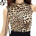 Майка Женщин Сексуальный Рукавов Leopard Печатных Рубашку 2016 Лето Новая Мода Водолазка Жилет Фитнес Топы Женской Одежды