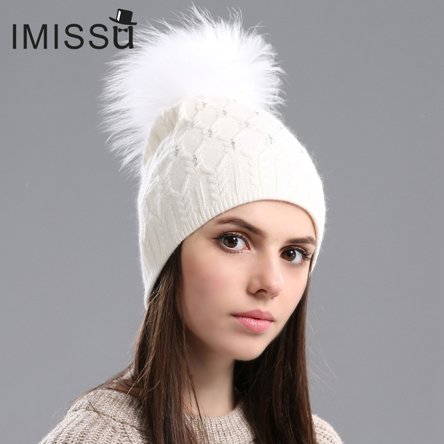IMISSU Winter Beanie Hats for Women Knitted Wool Skullies Casual Hat with Real Raccoon Fox Fur Pompom Solid Color Ski Gorros Cap