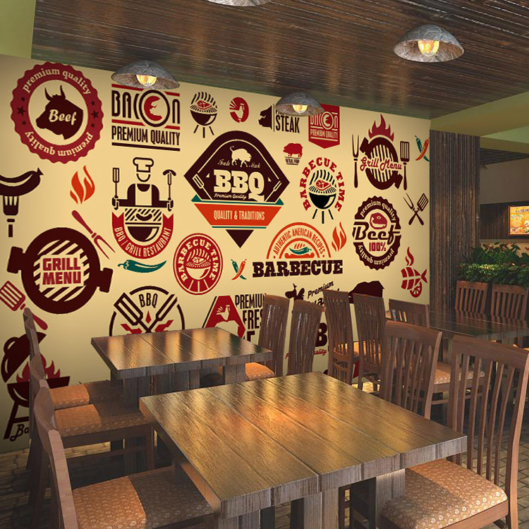 Custom mural wallpaper cartoon food barbecue grill
