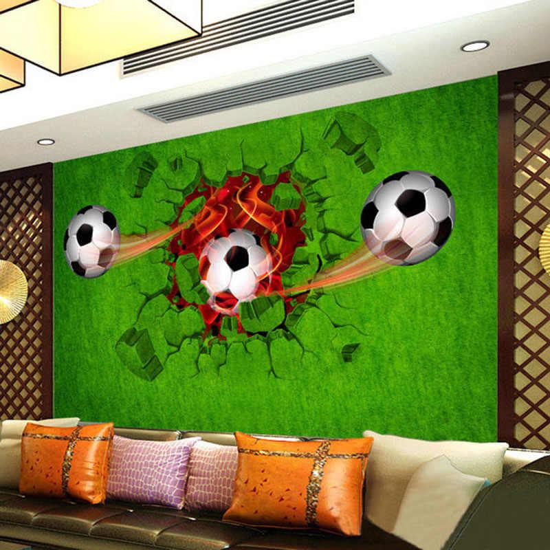 Foto Wallpaper Modern 3D Stereo Sepak Bola Rumput Hijau Lukisan Dinding Ruang Tamu Kamar Anak Dekorasi Rumah Ramah Lingkungan Tahan Air Kertas Dinding