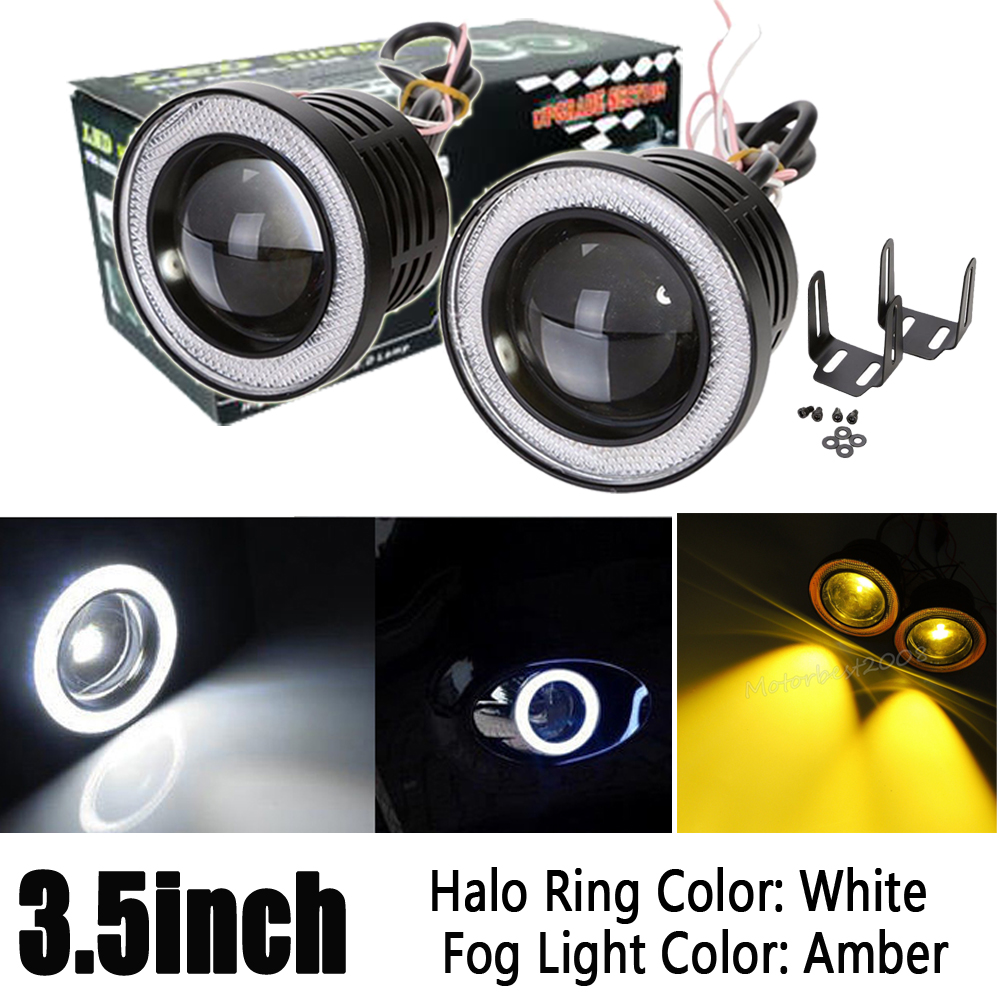 2x 3.5inch 3200Lm Glass Projector high power Yellow LED fog light lamps with White Angel eyes halo Ring Car Auto 12V DC