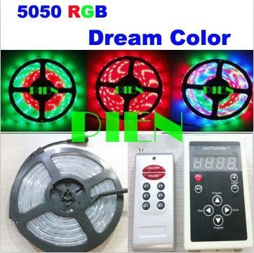 RGB LED Strip light 5050 Magic dream color Intelligent 150LED 5M 6803IC waterproof IP67 133 Program+ RF Controller Free Shipping