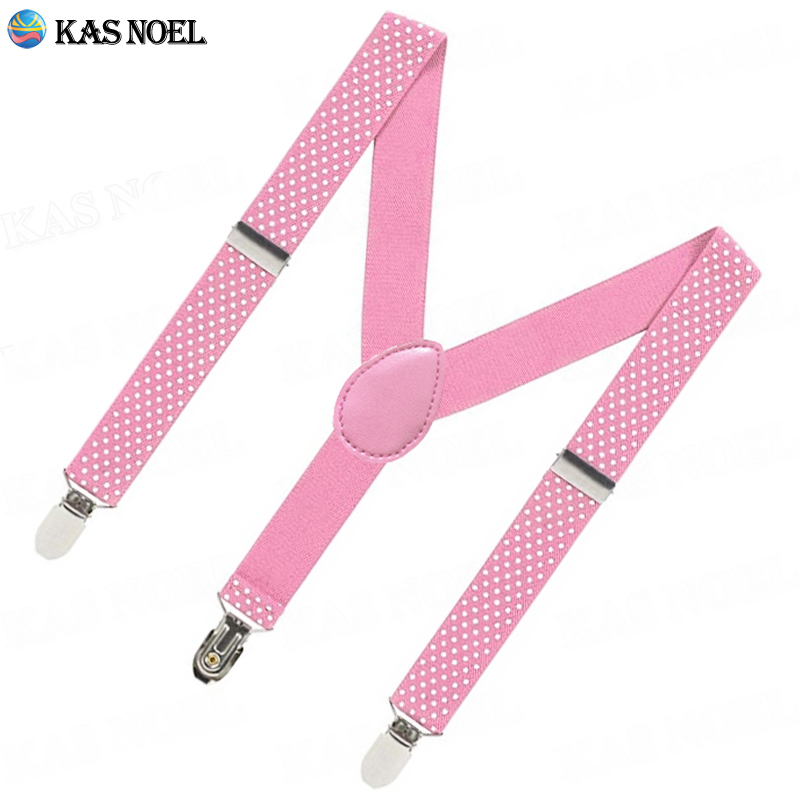 Polka Dots Pink Girls Suspenders 3 Clip Adjustable Braces Y Back Elastic Straps For Kid's Length Pants Accessories