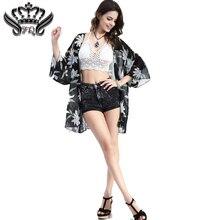 2016 Women Blouses Summer Style Fashion Women's Vintage Flower Print Chiffon Blouse Shirt Women Loose Chiffon Kimono Cardigan