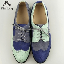 Genuine leather women flat shoes round toe flats handmade shoes woman US size 11 vintage 2017 sping oxford shoes for women blue