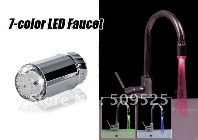 Free Shipping 7 Color LED Light Automatic Water Faucet Bathroom Waterfall NO-Battery Sink Tap Best Price 100pcs/lot