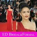 Salma Hayek Chiffon alta fenda vestido de um ombro vestido de baile rua parede Festival de Cannes tapete vermelho vestido
