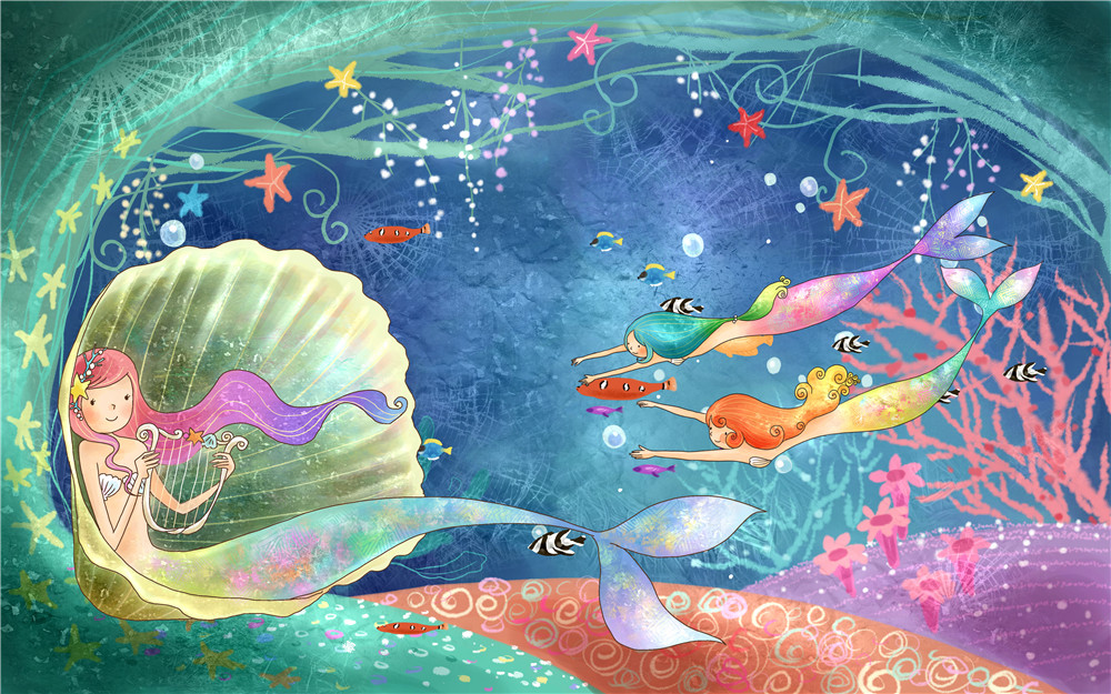 Fairy Tale Mermaid Backdrop Photography Bubbles Little Mermaids Swimming Under the Sea Princess Girl Birthday Party Background vinyl photography background fairy tale