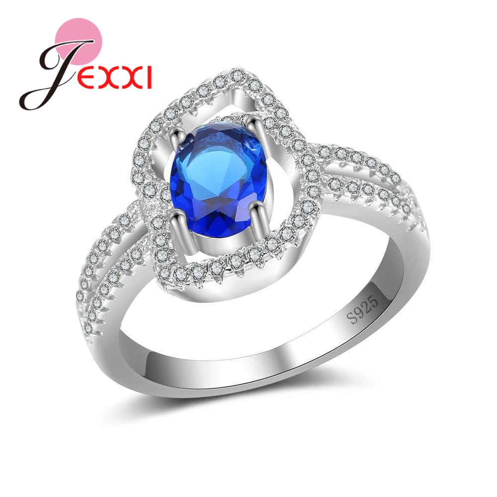 JEXXI Special Design Brilliant Crystal Cubic Zirconia Perfect 925 Sterling Silver Finger Rings Crystal Jewelry For Women Girls