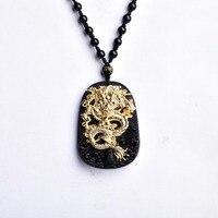 Groothandel Gold Natuurlijke Zwarte Obsidiaan Carving Dragon Lucky Amulet Hanger Ketting Voor Vrouwen Mannen hangers Jadee Sieraden