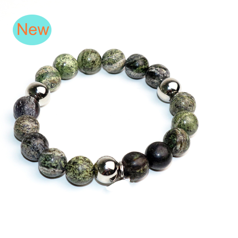 Classic Jewelry Distance Bracelet Bangle For Men Black Lava Beaded Bracelets Personality Gift Metal Accessories BB-049
