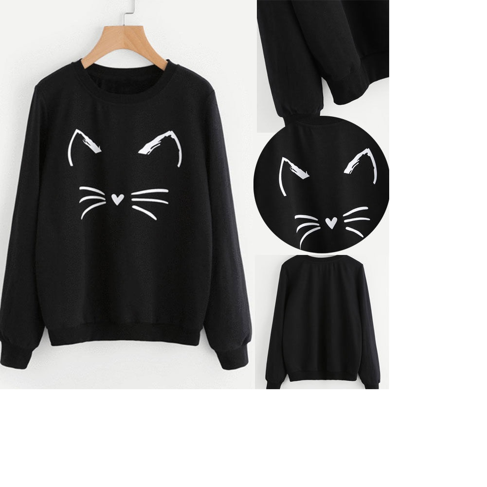 2019 Kawaii Cat Emotion Sweatshirts Womens Black Hoodie Long Sleeve Casual  Hooded Coat Pullover Tops-in Hoodies   Sweatshirts from Women s Clothing on  ... e6785037f417