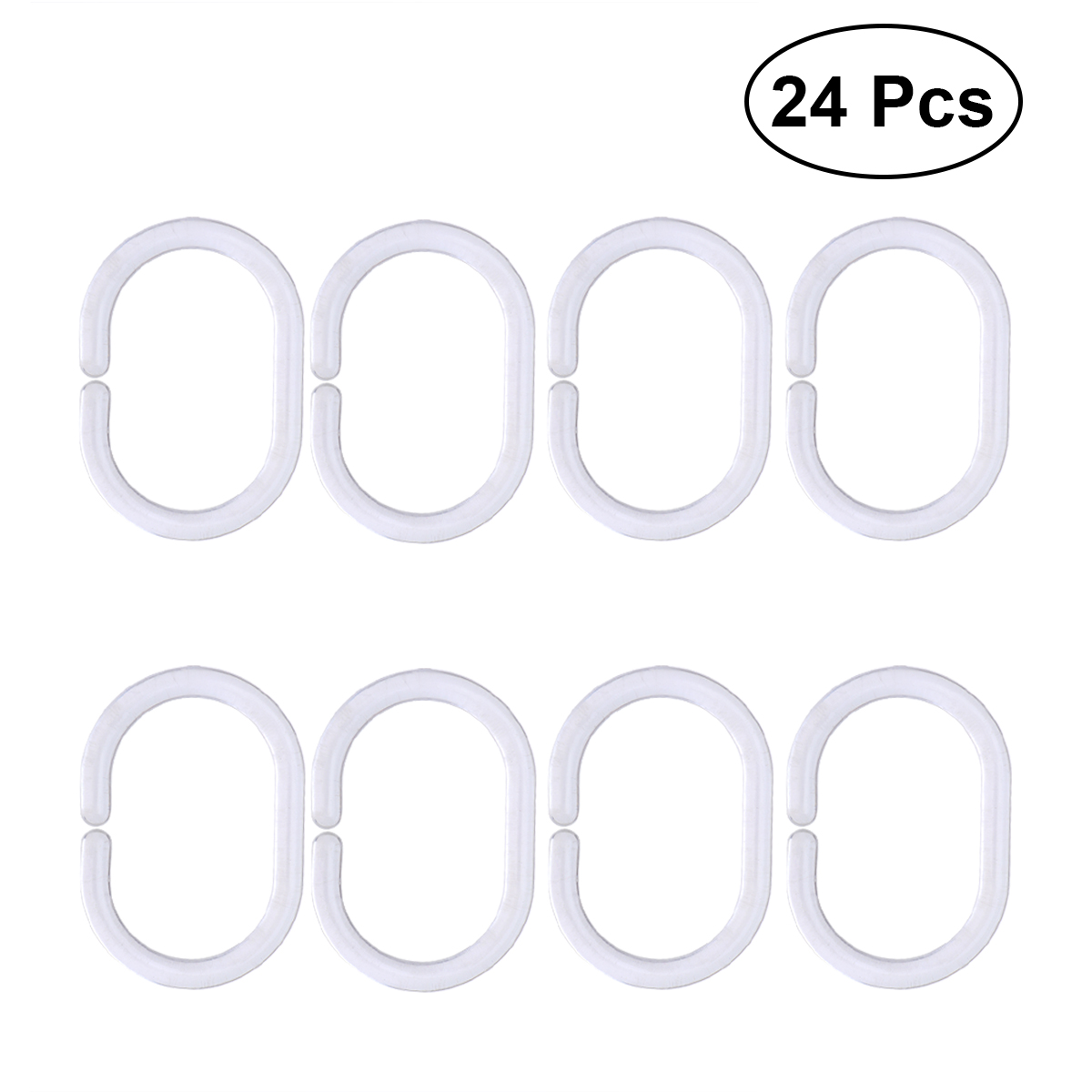 Us 2 54 45 Off 24pcs Clear Plastic Shower Curtain Rings C Shape Hooks Shower Curtain Hook Hanger Plastic Ring Bath Drape Loop Clasp In Shower
