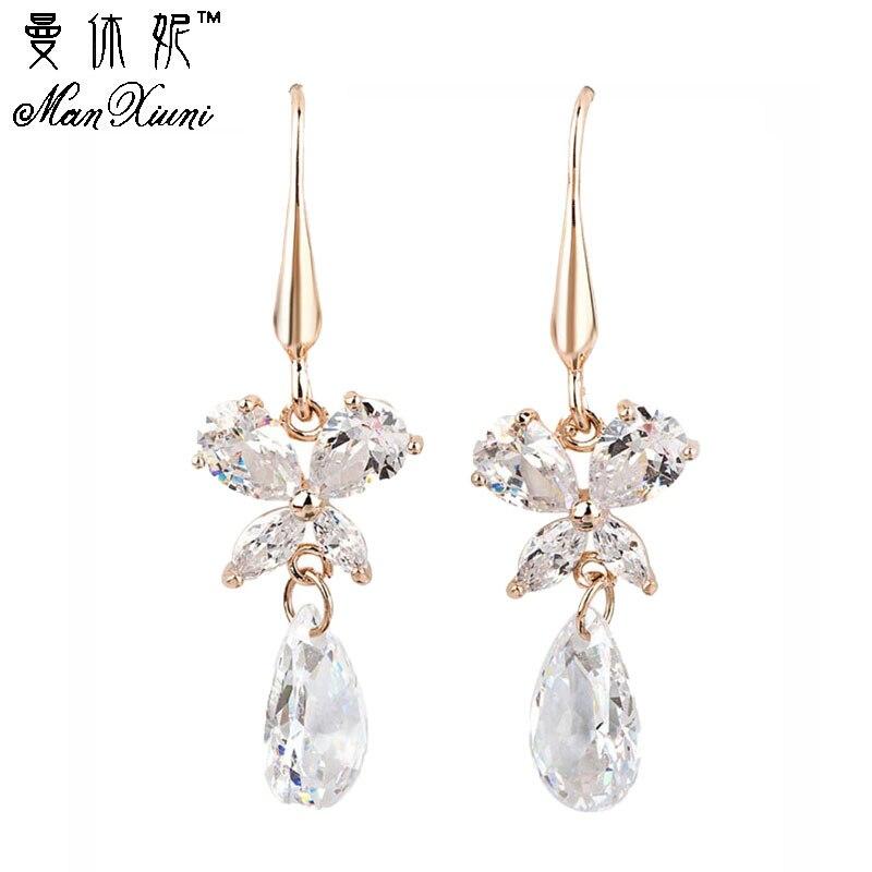 Manxiuni Women Earrings Cubic zirconia Gold Colored Earring Fine Jewelry Pendientes For Women Costume jewelery earrings