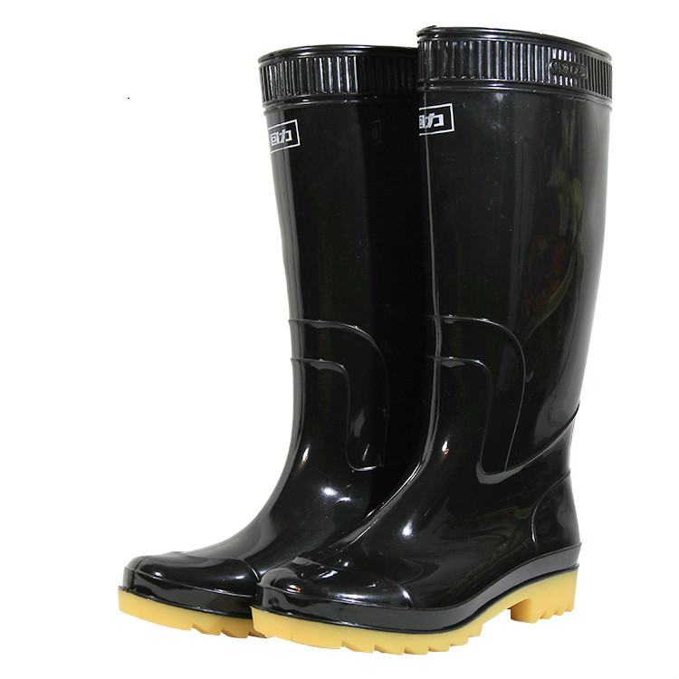 Tall Tube Fishing Waders Boots Tendon End Black Rain Boots Men Waterproof Non-slip Fishing Shoes Boots