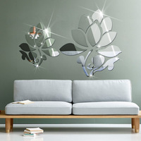 Lotus Flowers 3D Crystal Wall Mirror Stickers Living Room Background Best Home Decoration wall stickers 80x50cm
