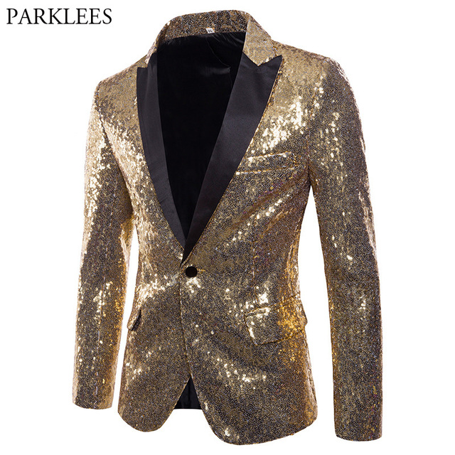 Mens Shiny Gold Sequin Glitter Blazer Jacket Men Nightclub Prom One Button  Suit Blazer Men DJ Stage Singer Blazers Costume Homme ef6d46a5f78a