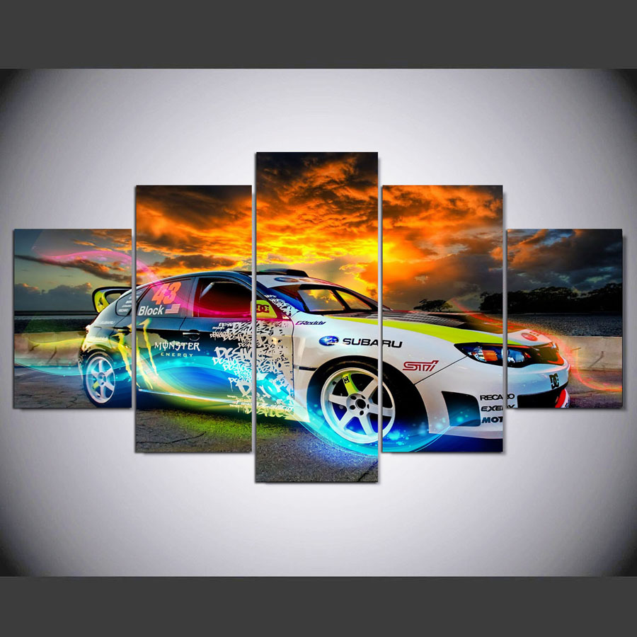 5 piecesset sports car wall art picture modern home decor living room or bedroom
