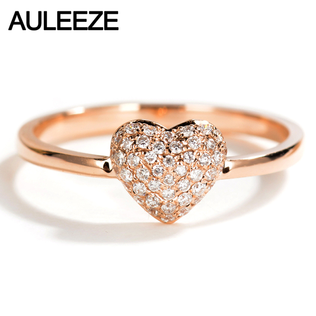 Auleeze 18k Solid Rose Gold Diamond Wedding Ring Real Natural Heart Shape Bands For Women