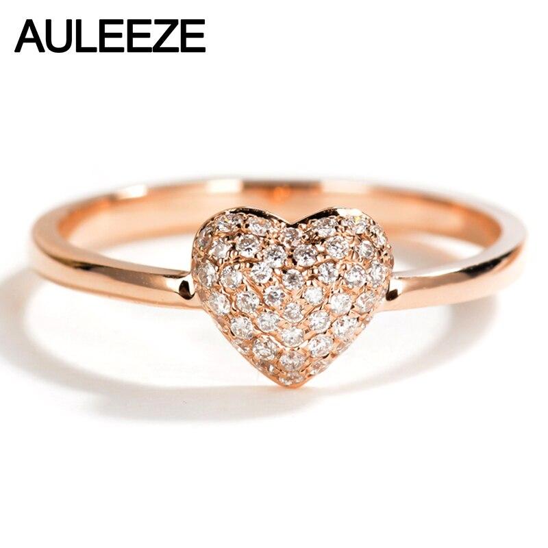 Auleèze 18 K solide or Rose diamant bague de mariage réel diamant naturel en forme de coeur bandes pour les femmes bijoux fins cadeau saint-valentin