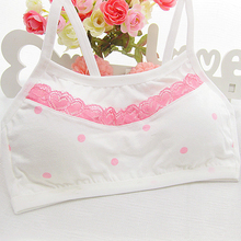 New Teen Girl Training Bras  Cute Dots Cotton Comfortable No Rims Young Girls  Bras Fine Shoulder Strap Vest Type Training Bras