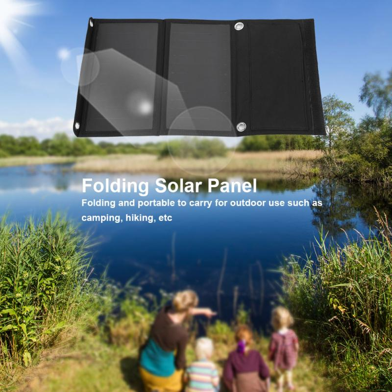 5V Folding Solar Panel 14W Portable Folding Solar Power Panel  Waterproof USB Camping Mobile Phone Charging Board