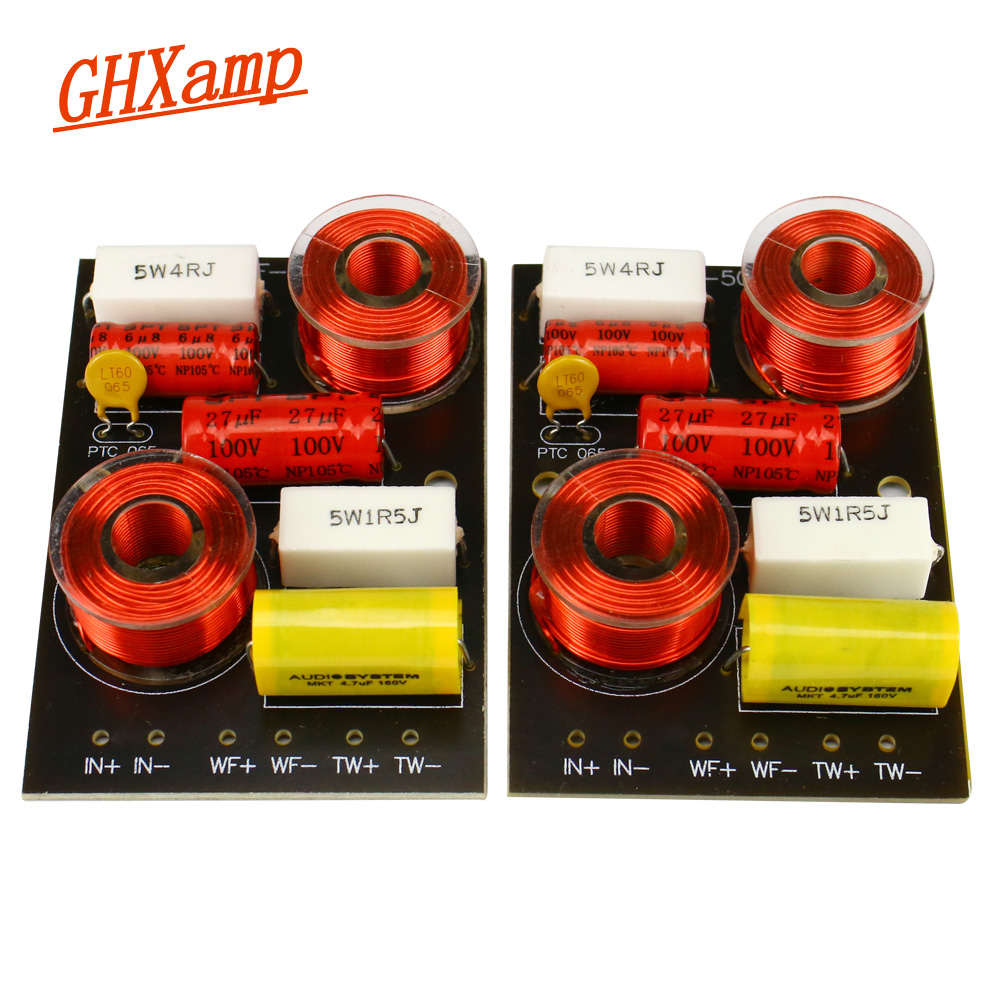 GHXAMP 30W-50W 2 Way Tweeter Bass Speaker Crossover Auido 3.0KHz Two Way Divider For 5-8 Inch Speaker Use 2PCS