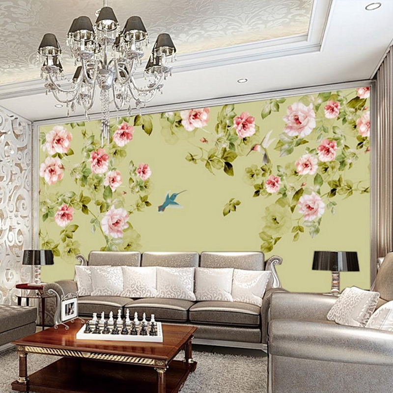 Photo wall floral wallpaper non woven fabric wall covering for Floral wallpaper living room