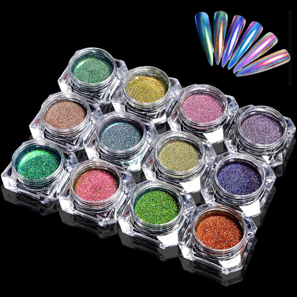Extra Fine Holographic Chrome Nail Art Powder: Peacock Holographic Chameleon Nail Glitter Powder Mirror