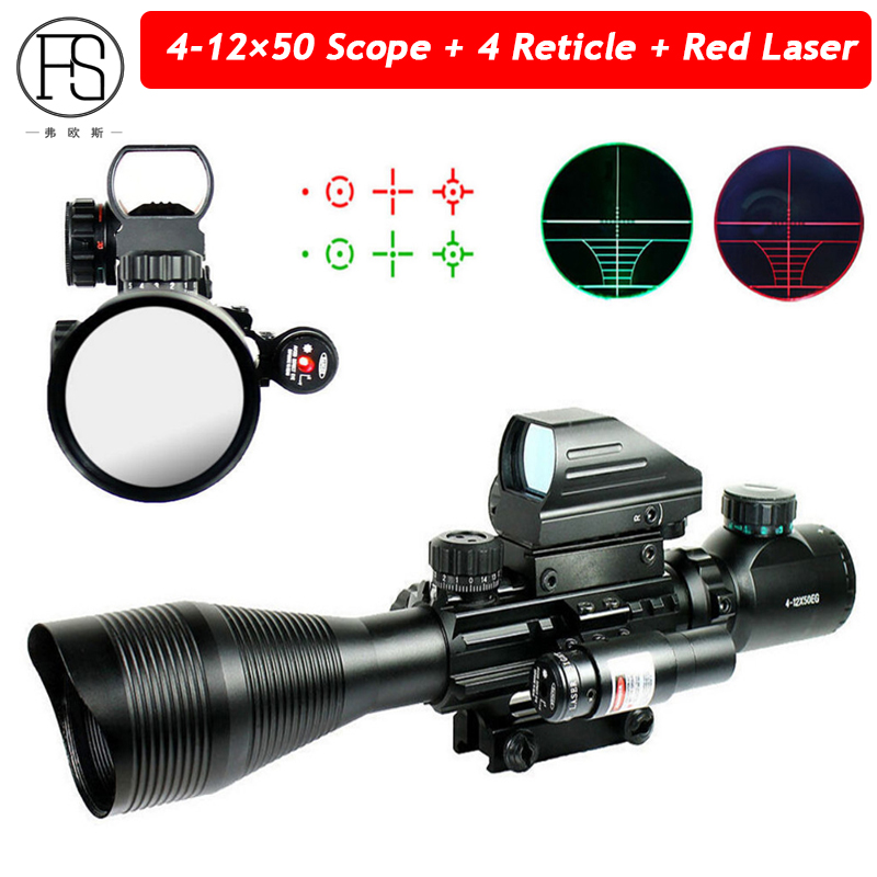 Tactical 4-12X50 EG Riflescope 4 Reticle Holographic Red Green Dot Sight  Red Laser Scope 20mm Rail Use Shooting Sight Scope 3 10x42 red laser m9b tactical rifle scope red green mil dot reticle with side mounted red laser guaranteed 100%