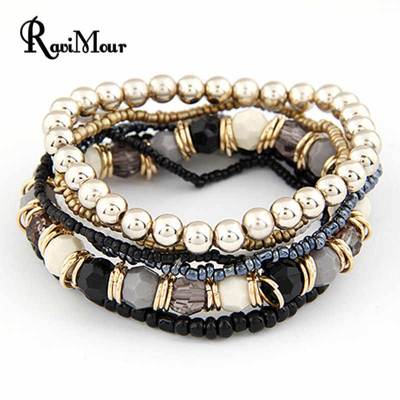 2017 Bohemian Fashion Jewelry MutiLayer Beads Bracelets & Bangles for Women Elastic Strand Pulseras Mujer Femme Bijouterie