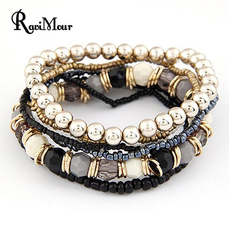 2017 bohème mode bijoux multicouche perles Bracelets & Bracelets pour femmes élastique brin Pulseras Mujer Femme Bijouterie