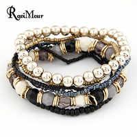 2017 joyería de moda Bohemia, pulseras y brazaletes de Cuentas multicapas para Mujer, pulseras de hilo elásticas, bisutería para Mujer