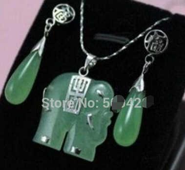 Бесплатная доставка Красивая! зеленый слон Ювелирные Изделия ожерелье серьги Набор