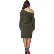 2018 2xl 3xl New Women Dresses Large Size Spring Warm Dress Plus Size Women Clothing Casual Elegant Army Green Vestidos Female