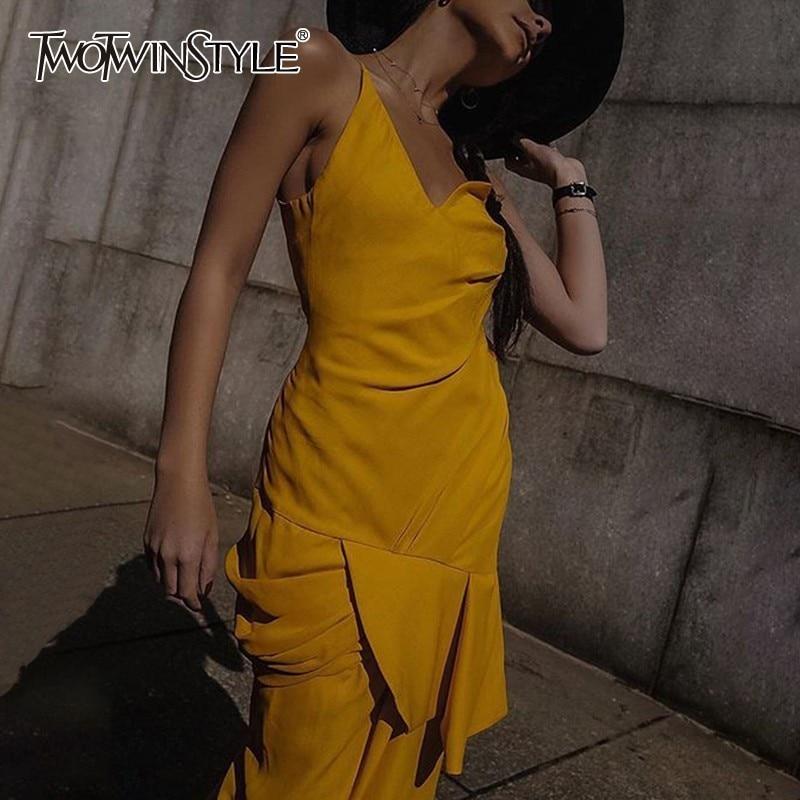 TWOTWINSTYLE Elegant Solid Dress For Women Off Shoulder Sleeveless High Waist Irregular Slim Dresses Female Fashion