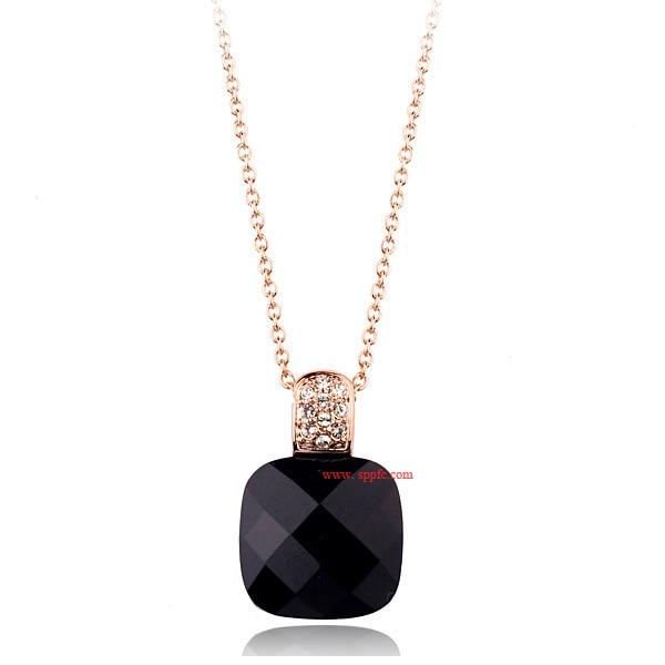 famous brand vintage ITALINA Regent square Black Onyx gold Necklace women fashion jewelry manufacturers girlfriend gift бижутерия italina 7 7495019 21600 7495019