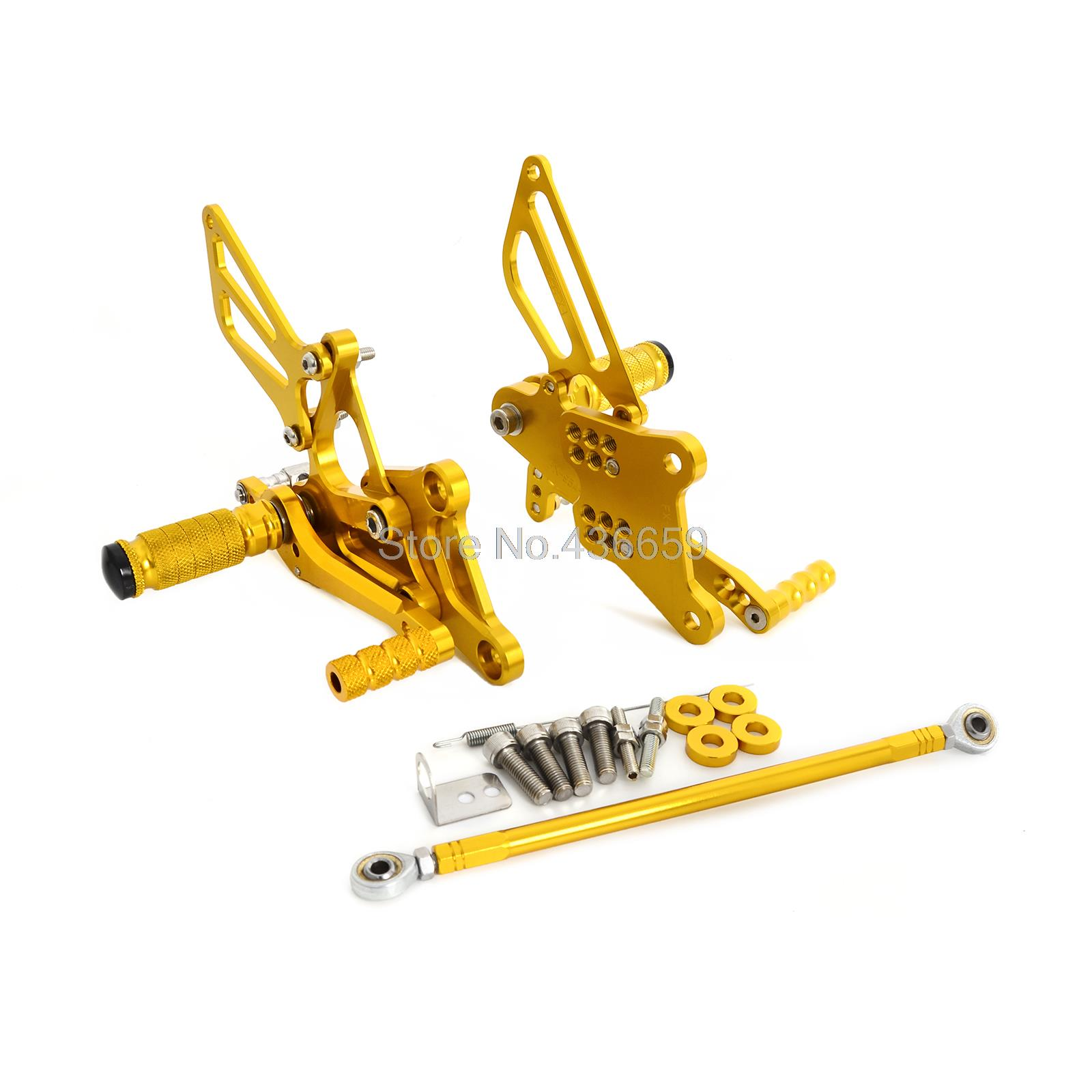 Gold CNC Billet Racing Adjustable Foot Pegs Rear Sets For Honda VFR400 NC30 RVF400 NC35
