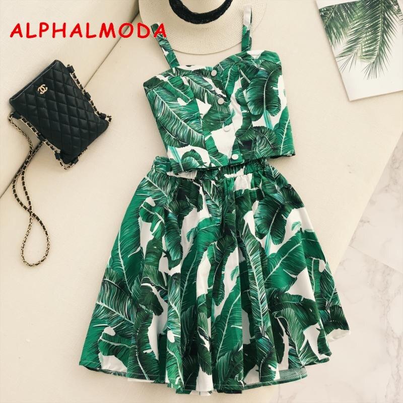 ALPHALMODA Retro Cherry Dot Print Crop Top Skirt 2pcs Clothing Sets Single Breasted Tank Top Elastic Waist A-line Skirt Suits