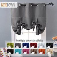 NICETOWN 1PC Tie up Grommet Blackout Curtain Drapery Home Decoration Accessories Sun Shade Fabric Curtain for Kitchen Window